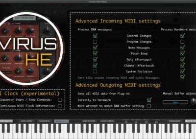 access virus editor advanced midi settings
