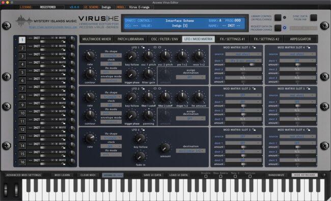 access virus editor lfo mod matrix indigo