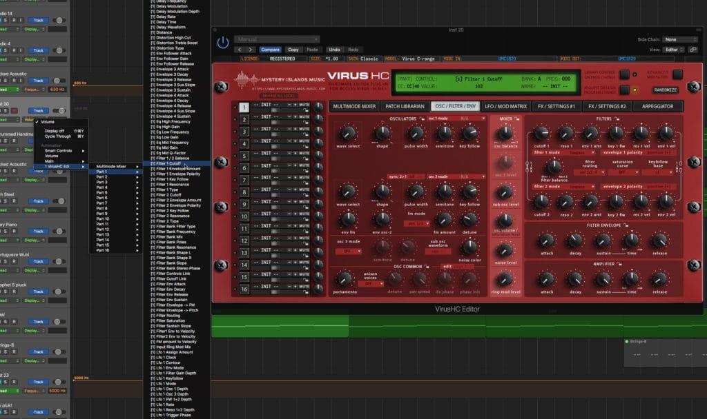 Access VirusHC automation with Logic Pro