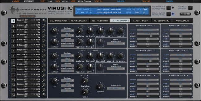 access virushc editor v2 beta c lfo modmatrix indigo