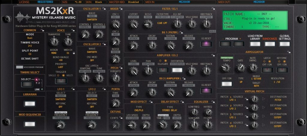 korg ms2kxr main interface v2 black