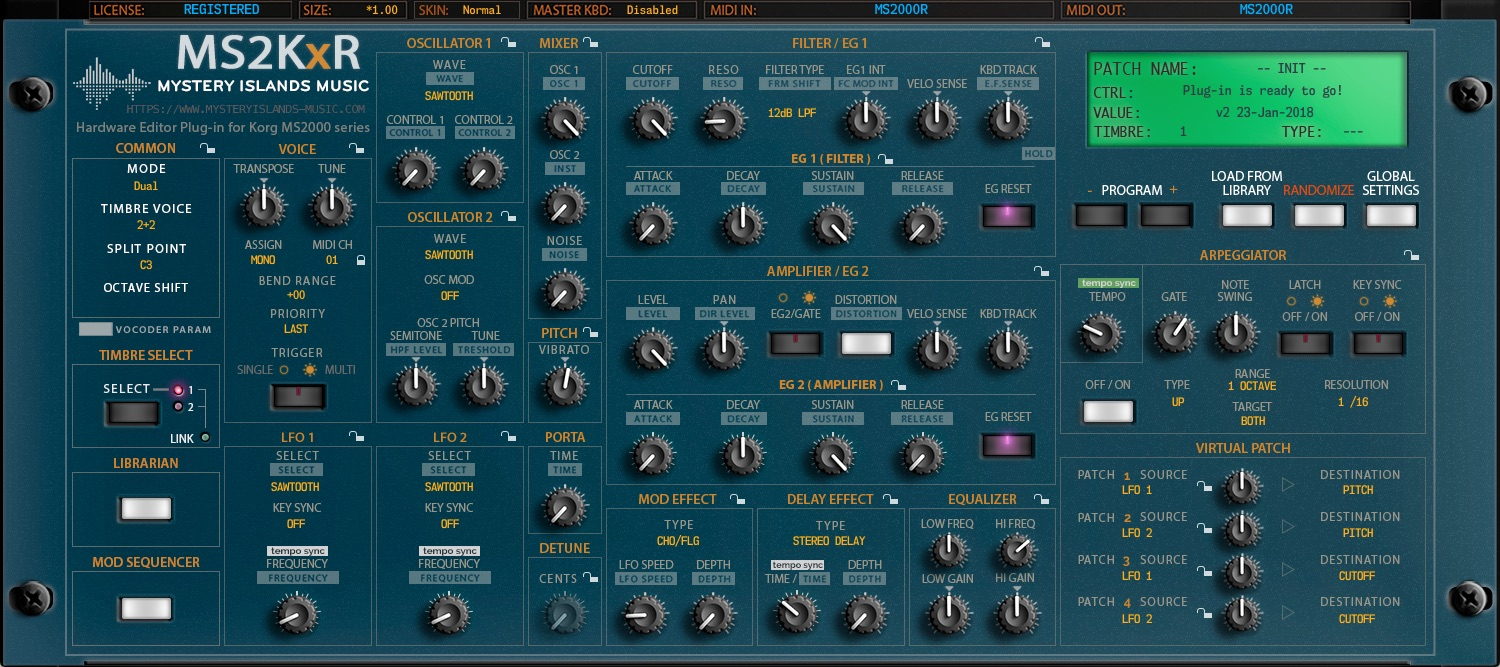 Korg MS2000 / MS2000R Editor & Librarian Plug-in