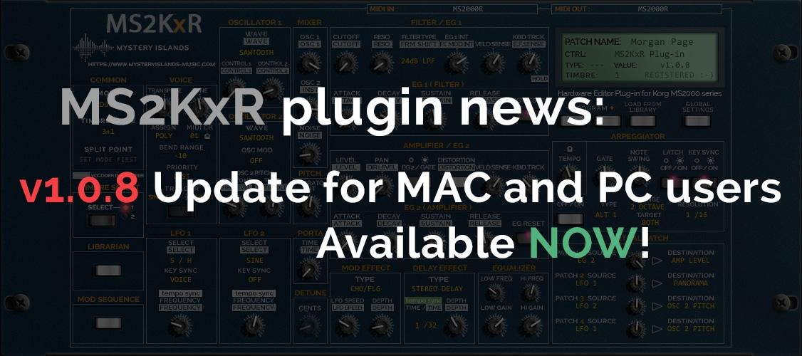 Korg MS2KxR Update v1.0.8 Now available