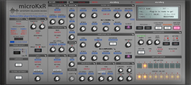 Korg microKxR Arp Step Editor with Platinum skin