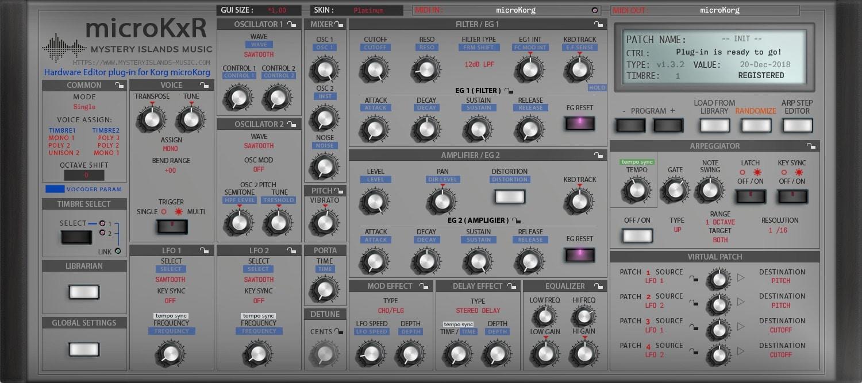 Korg microKxR Main User Interface with Platinum skin