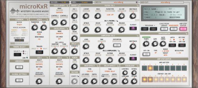 Korg microKxR Arp Step Editor with S-Model skin