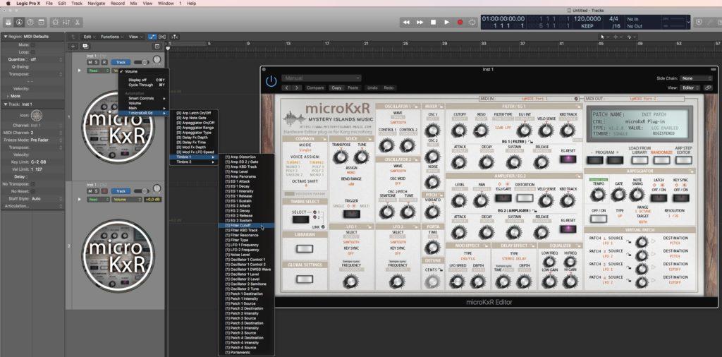 Korg microKxR Automation in Logic Pro
