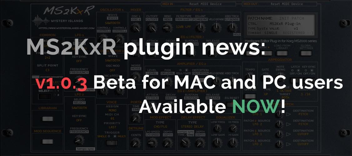Korg MS2KxR update v1.0.3 now available