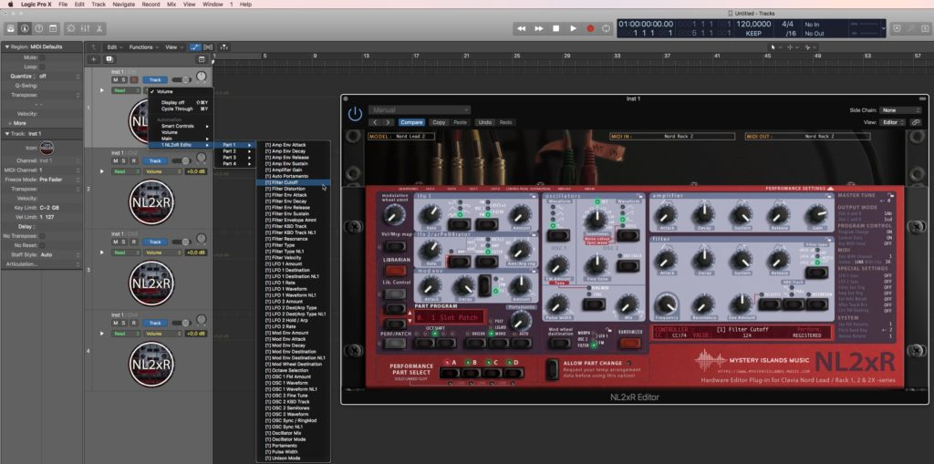 Clavia NL2xR Automation in Logic Pro