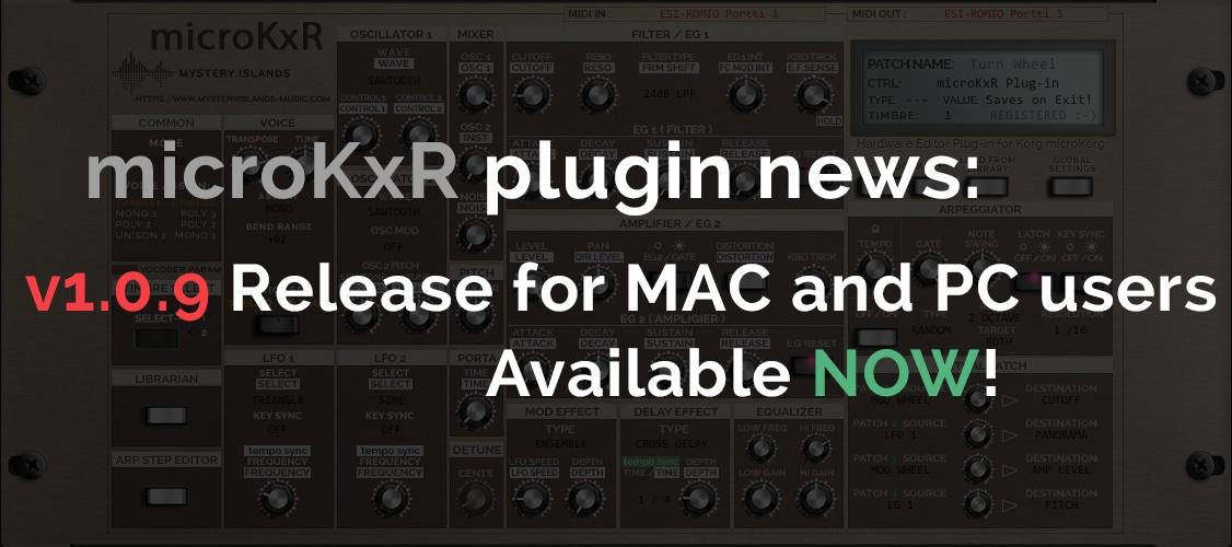 Korg microKxR Release v1.0.9 & MS2KxR v1.0.9 now available!
