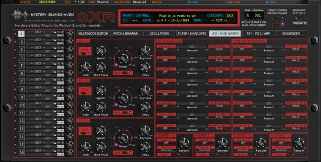 Waldorf qXr LFOs and Mod Matrix Phoenix