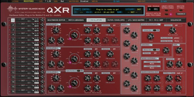 Waldorf qXr Main User Interface with Red skin