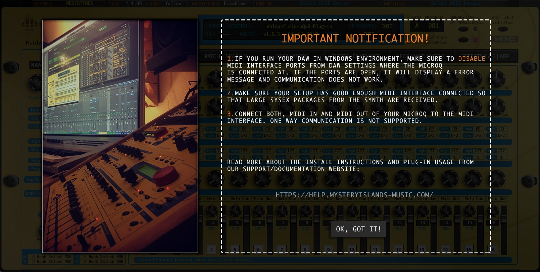 Waldorf microQxR First Run notifcation