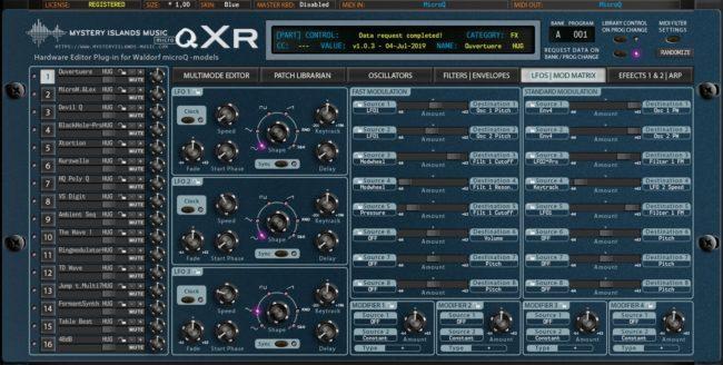 Waldorf microQxR LFO and Mod Matrix Blue