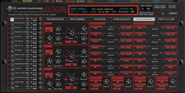 Waldorf microQxR LFO and Mod Matrix Phoenix