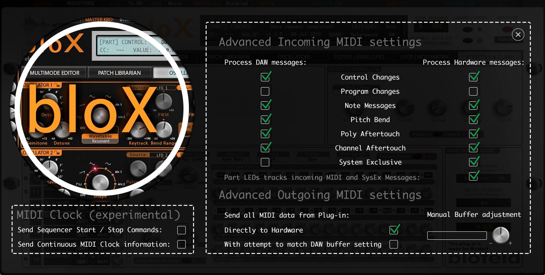 Waldorf bloX Advanced MIDI Settings