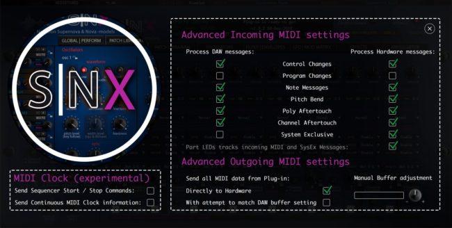 Novation SNX Advanced MIDI Settings