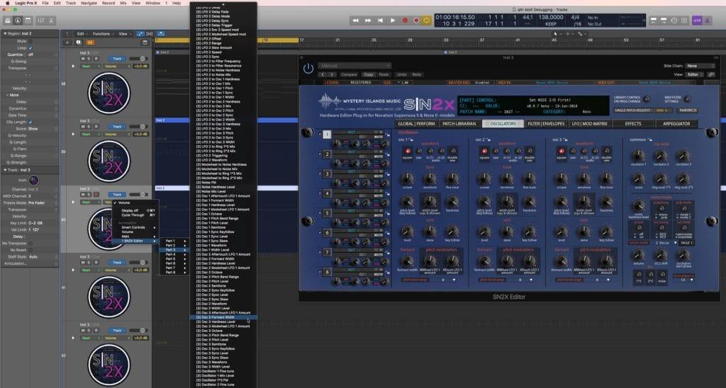 Novation SN2X Automation in Logic Pro