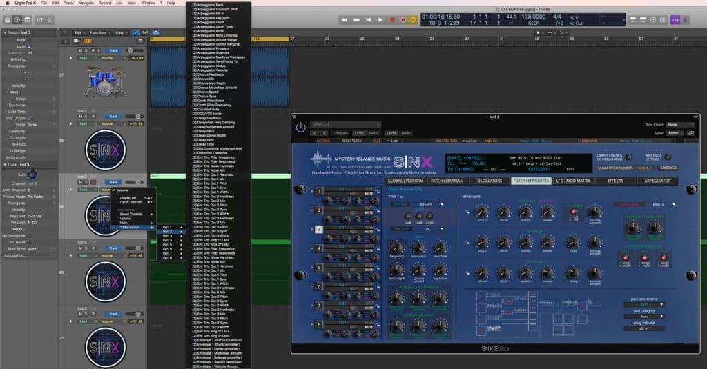 Novation SNX Automation in Logic Pro