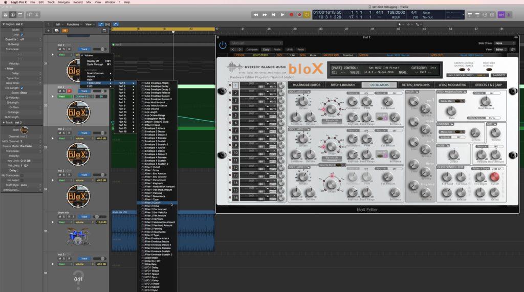 Waldorf bloX Automation in Logic Pro