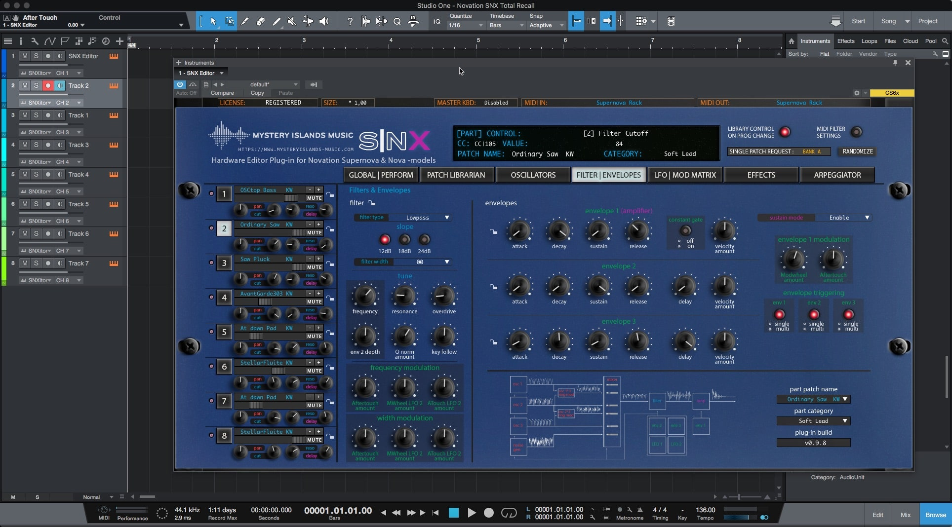 Novation SNX Update v0.9.8 Available Now