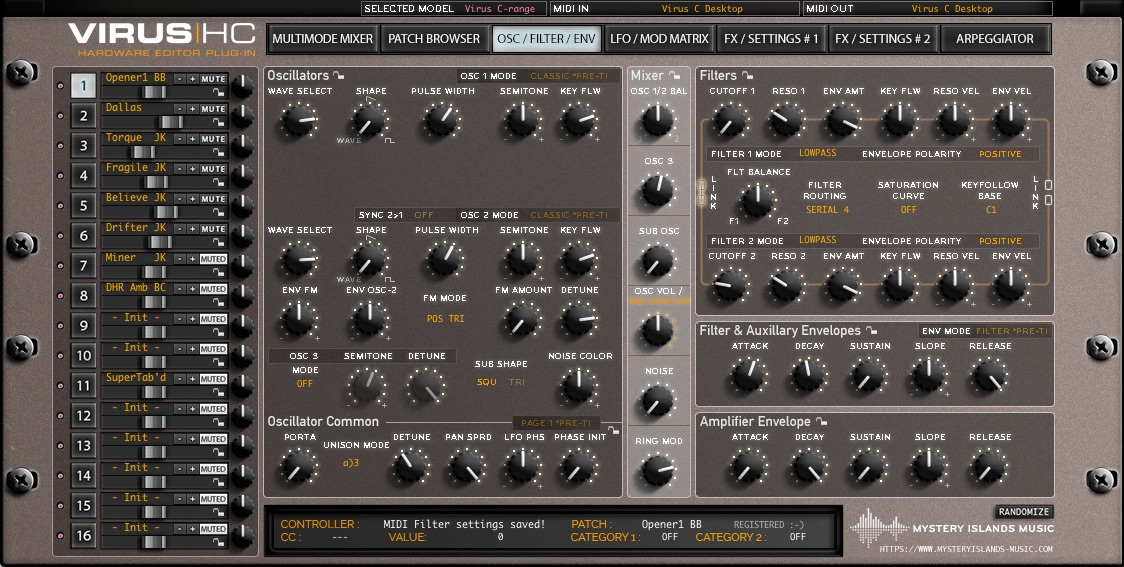 access virushc oscillators filters v1514