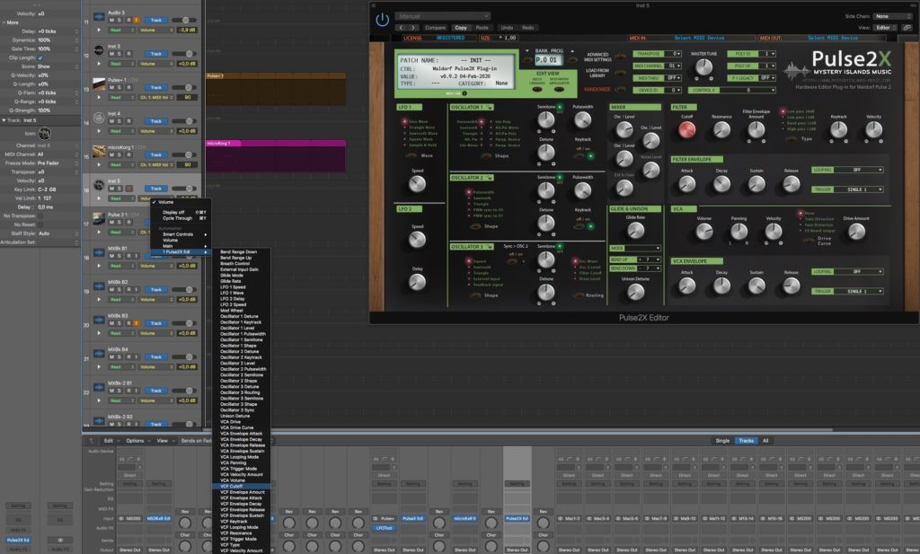 Waldorf Pulse2X Automation in Logic Pro