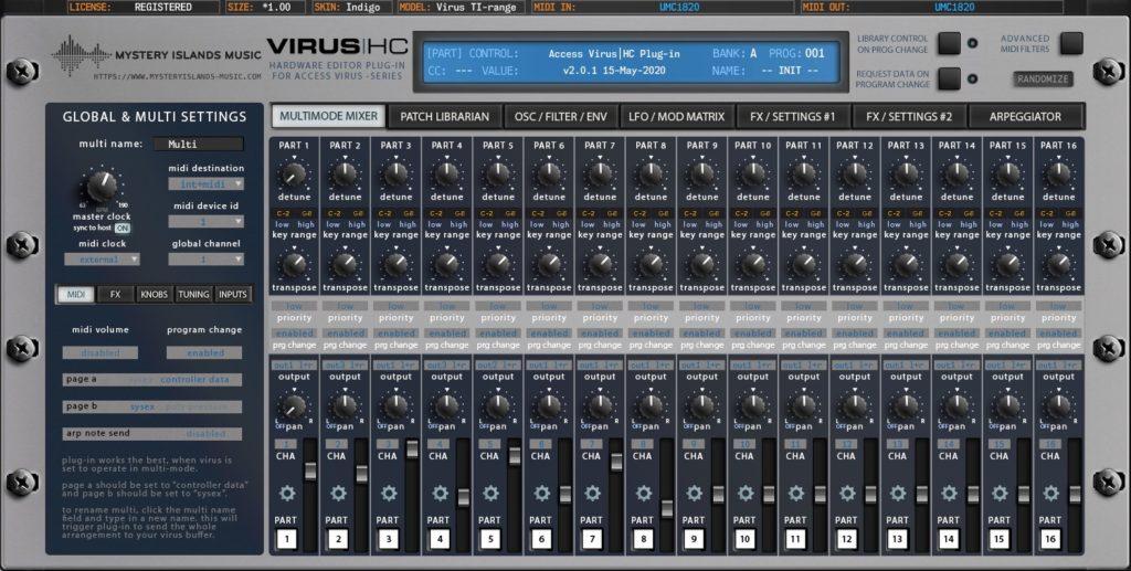 access virus editor v2 multimode mixer virus indigo