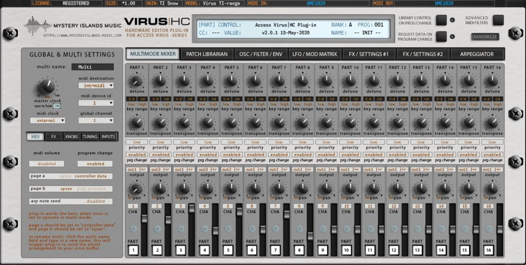 access virus editor v2 multimode mixer virus ti snow