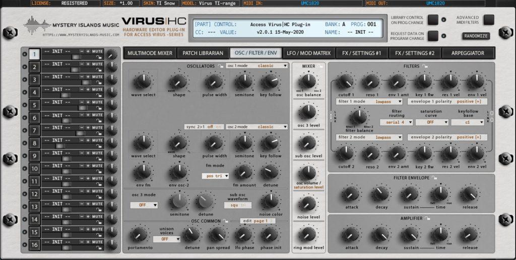 access virus editor v2 oscillators filters virus ti snow
